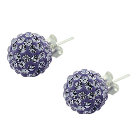 925 Sterling Silver Violet Purple CZ Beads Ball Round Stud Earrings