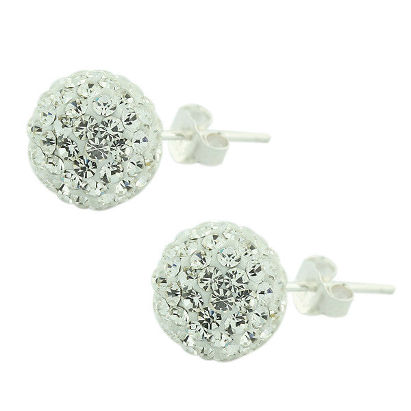 929 Sterling Silver White CZ Beads Ball Round Stud Earrings