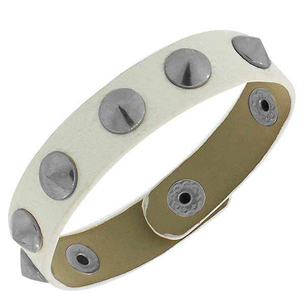 White PU Leather Silver-Tone Spikes Snap Wristband Unisex Bangle Bracelet
