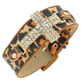 Faux Leather Leopard Brown Orange Black Pattern Yellow Gold-Tone Religious Cross CZ Wristband Adjustable Bracelet