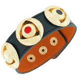 Black PU Leather Yellow Gold-Tone Round Charms Multicolor Snap Wristband Bracelet