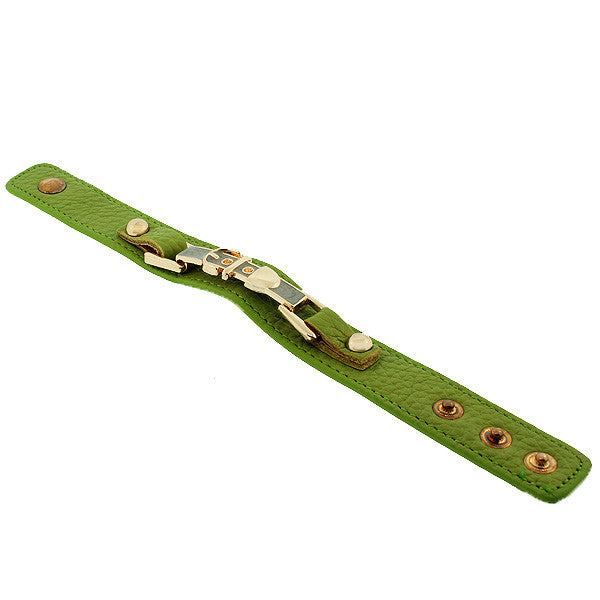 Light Green PU Leather Yellow Gold-Tone Turquoise-Tone Belt Buckle Snap Wristband Bracelet