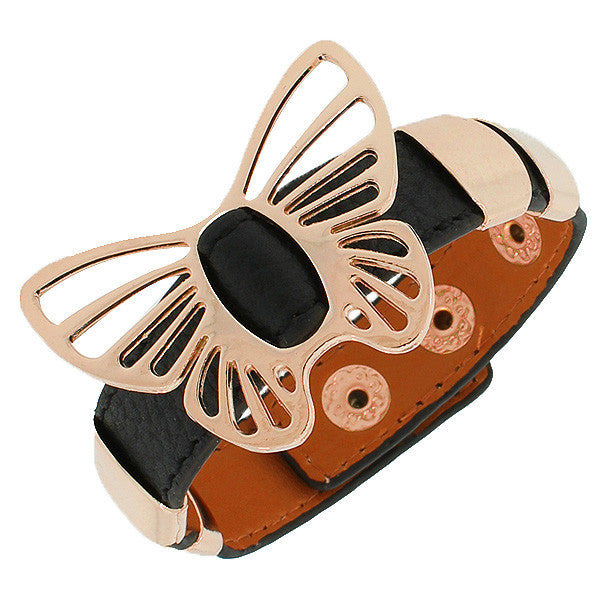 Black PU Leather Rose Gold-Tone Butterfly Snap Wristband Womens Girls Bangle Bracelet