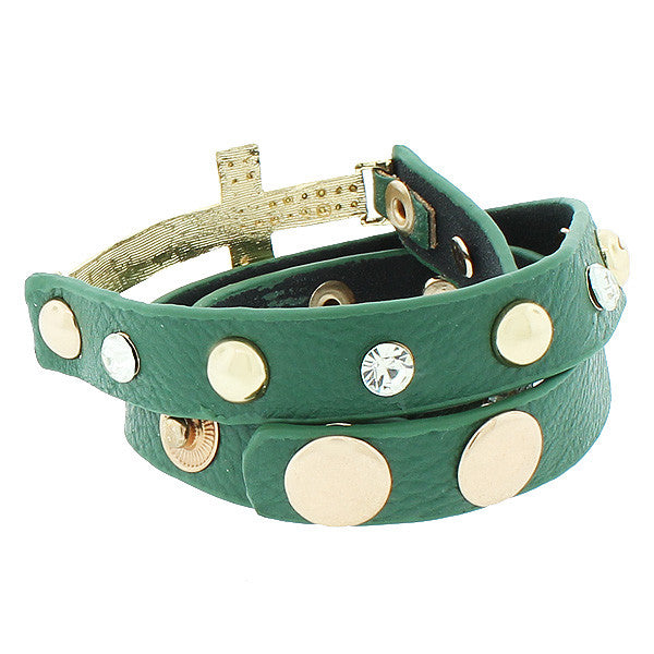 Green PU Leather Yellow Gold-Tone Religious Cross White CZ Multi-Row Wristband Adjustable Bracelet