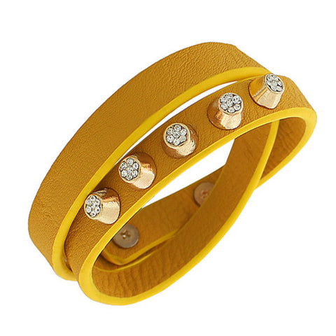 Faux Leather Gold-Tone White CZ Double Row Wristband Adjustable Womens Bracelet