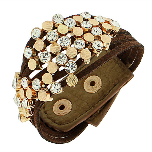 Faux Brown Suede Leather Yellow Gold-Tone White CZ Wristband Wrap Bracelet