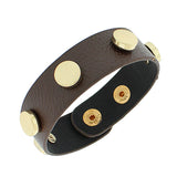 Faux Brown Leather Rose Gold-Tone Charms Wristband Wrap Womens Girls Bracelet