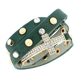 Faux Green Leather Rose Gold-Tone Religious Cross White CZ Multi-Row Wristband Adjustable Bracelet