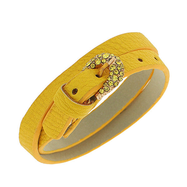 Faux Yellow Leather Rose Gold-Tone CZ Belt Buckle Wristband Wrap Bracelet
