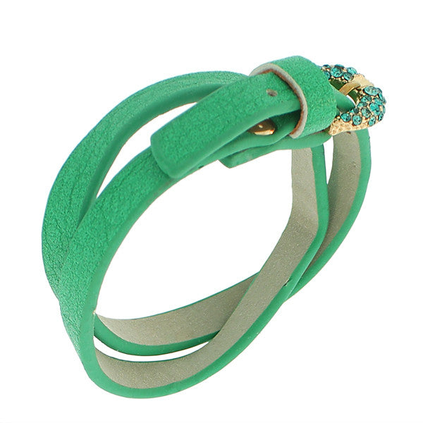 Faux Green Leather Rose Gold-Tone CZ Belt Buckle Wristband Wrap Bracelet