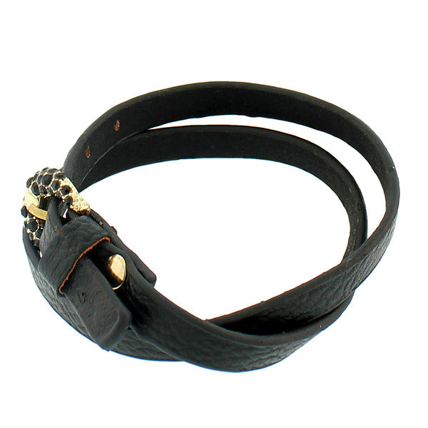 Faux Black Leather Rose Gold-Tone CZ Belt Buckle Wristband Wrap Bracelet
