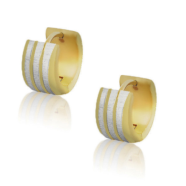 Stainless Steel Yellow Gold Silver-Tone Polished Matte Womens Girls Hoop Huggie Earrings