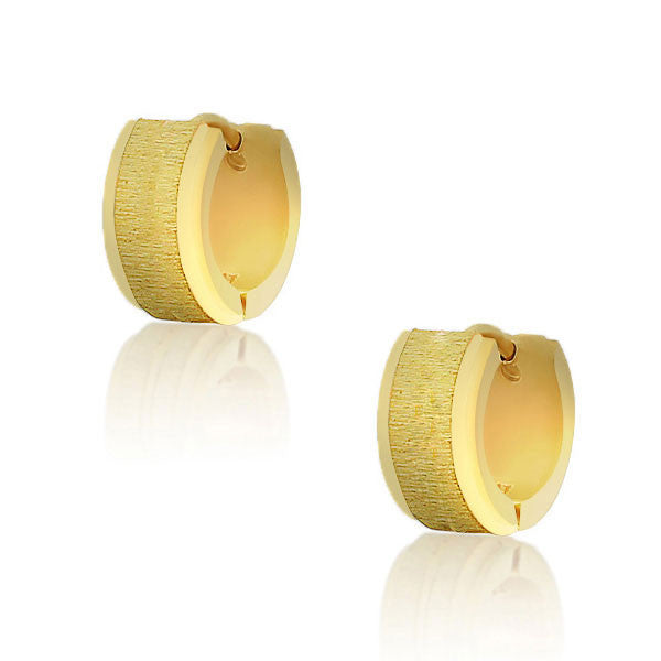 Stainless Steel Yellow Gold-Tone Polished Matte Womens Girls Hoop Huggie Earrings