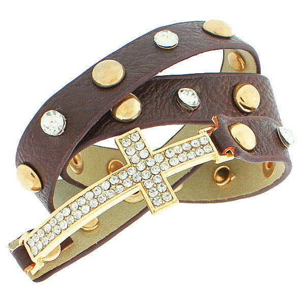 Faux Brown Leather Rose Gold-Tone Religious Cross White CZ Multi-Row Wristband Adjustable Bracelet
