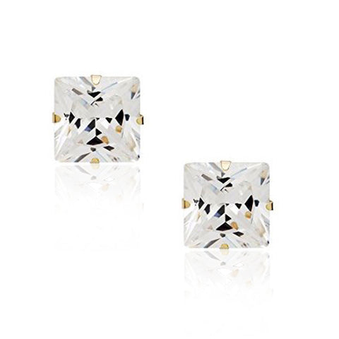 14K Yellow Gold Square Princess White Clear CZ Classic Stud Earrings, 7 mm