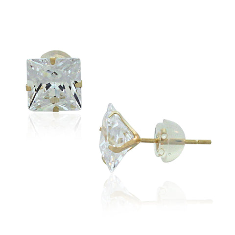 14K Gold Square Studs