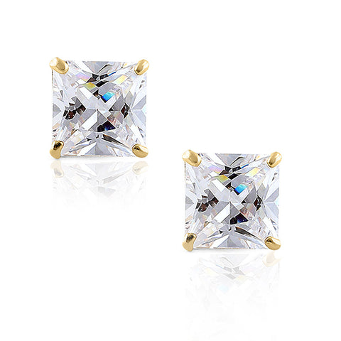 14K Yellow Gold Square Princess White Clear CZ Classic Stud Earrings, 6 mm