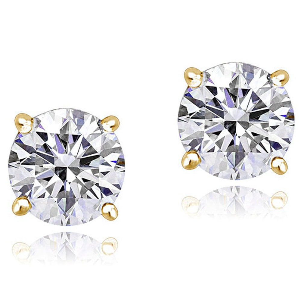 14K Yellow Gold Round White Clear CZ Classic Stud Earrings, 3 mm Diameter
