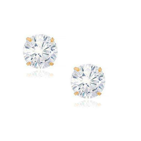 14K Yellow Gold Round White Clear CZ Classic Stud Earrings, 7 mm Diameter