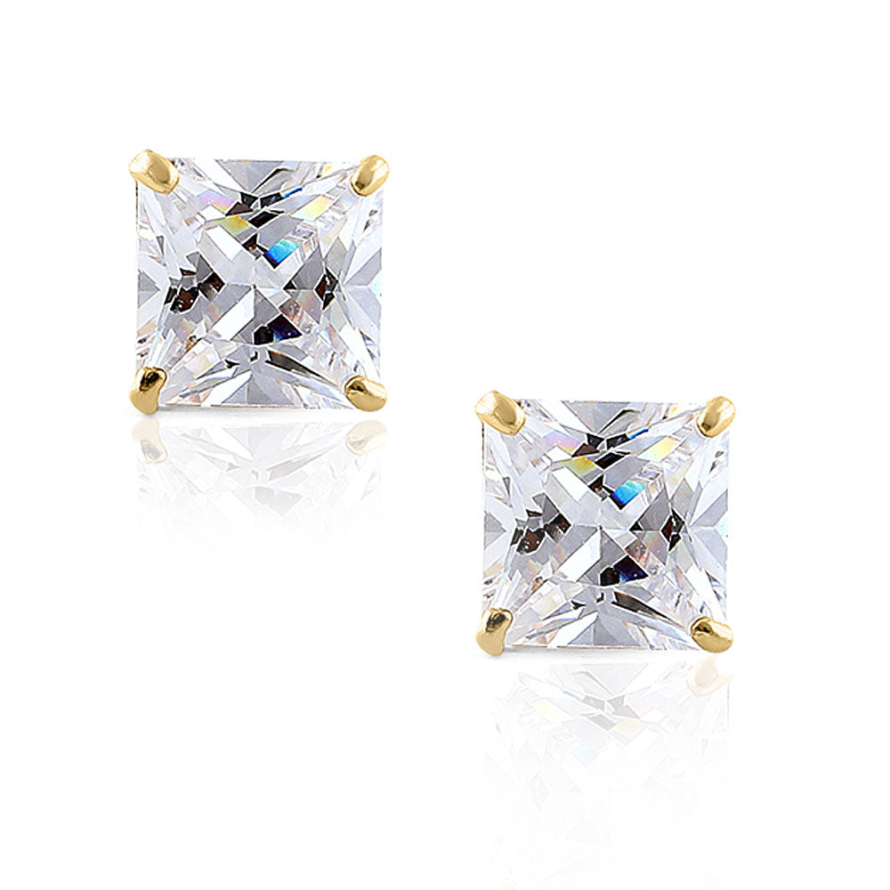 14K Yellow Gold Square Princess White Clear CZ Classic Stud Earrings, 3 mm