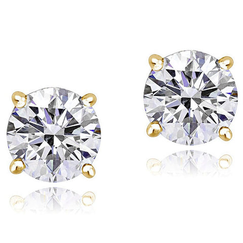 14K Yellow Gold Round White Clear CZ Classic Stud Earrings, 4 mm Diameter
