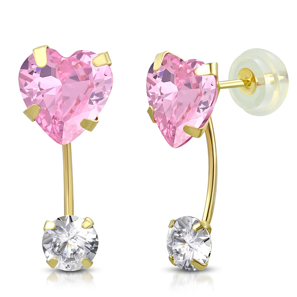 Pink Drop Stud Set