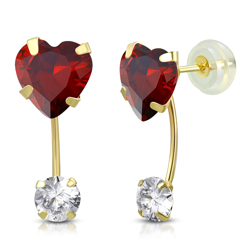 Ruby Drop Stud Set