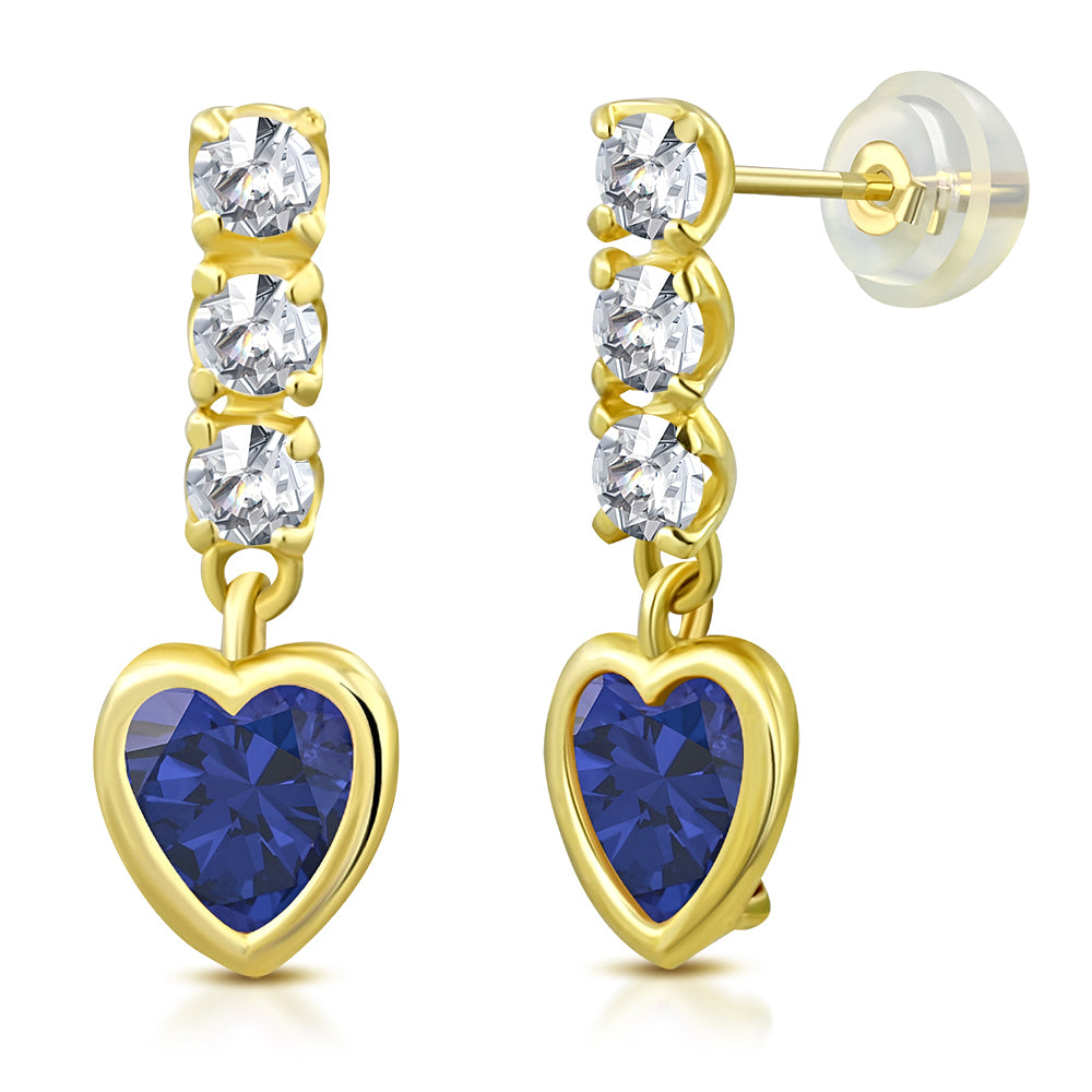 14K Yellow Gold Love Heart Multicolor Birthstone CZ Small Girls Stud Drop Earrings, 0.45""