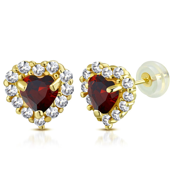 Ruby Red Heart Studs