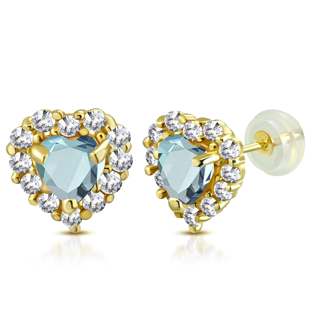Light Blue Heart Studs