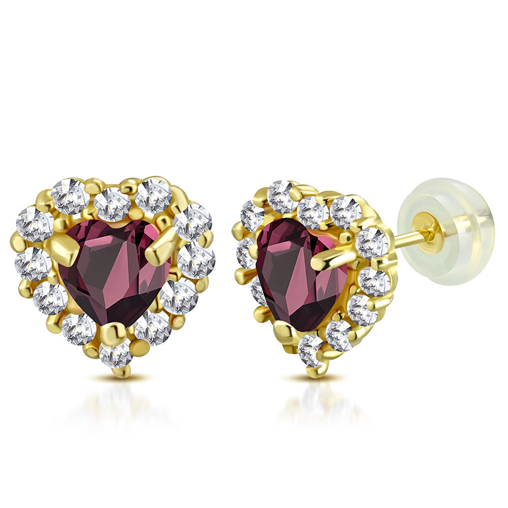 14K Yellow Gold Love Heart Multicolor Birthstone CZ Small Girls Stud Earrings, 0.20""