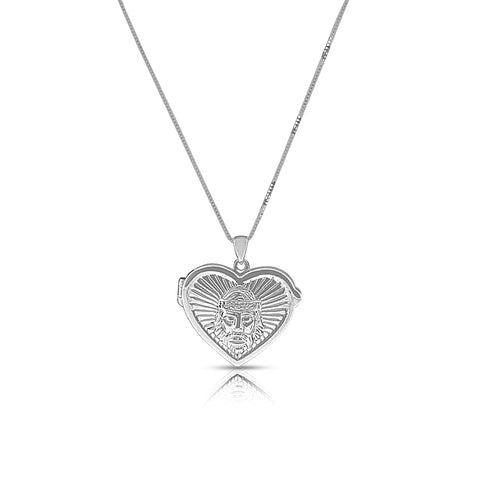14K White Gold Religious Jesus Love Heart Locket Pendant Necklace, 18""