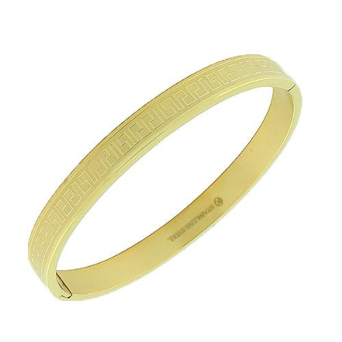Stainless Steel Yellow Gold-Tone Greek Key Handcuff Bangle Bracelet