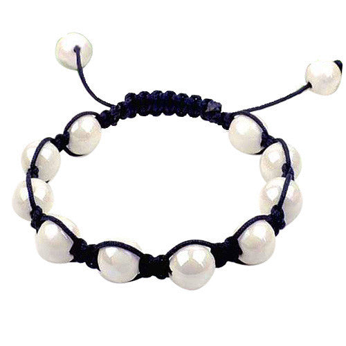 White Beads Black Cord Macrame Beaded Bracelet