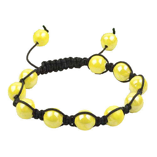 Yellow Beads Black Cord Macrame Beaded Bracelet