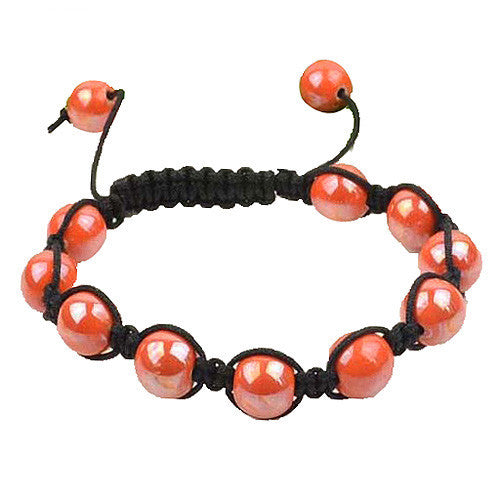 Light Orange Beads Black Cord Macrame Beaded Bracelet