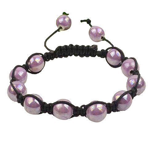 Light Purple Violet Beads Black Cord Macrame Beaded Bracelet