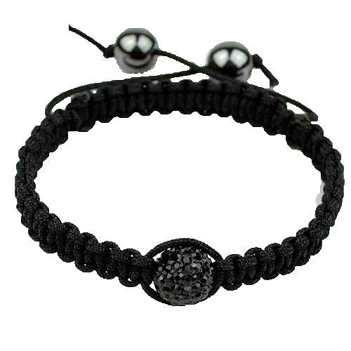 Black CZ Black Cord Simulated Onyx Macrame Beaded Bracelet