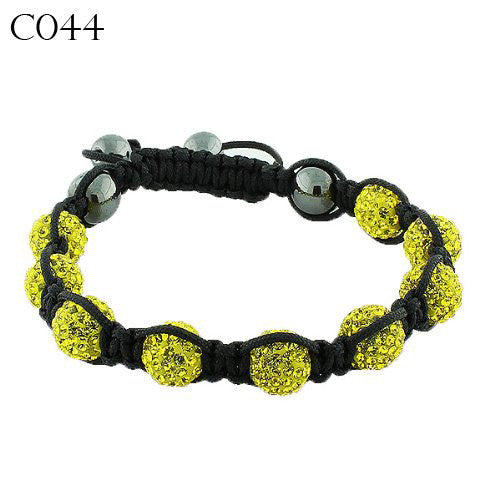 Yellow CZ Black Cord Simulated Onyx Macrame Beaded Bracelet