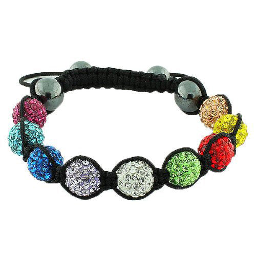 Multicolor CZ Black Cord Simulated Onyx Macrame Beaded Bracelet