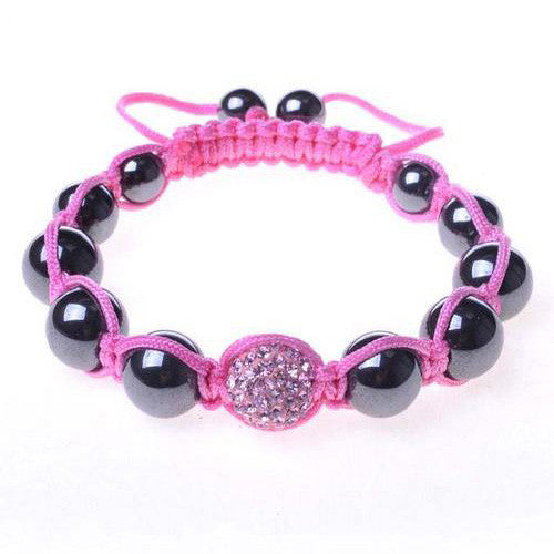 Black Chrome Metallic Pink Crystal Adjustable Macrame Bracelet