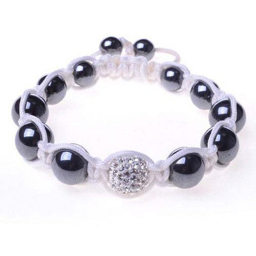Black Chrome Metallic White Crystal Adjustable Macrame Bracelet