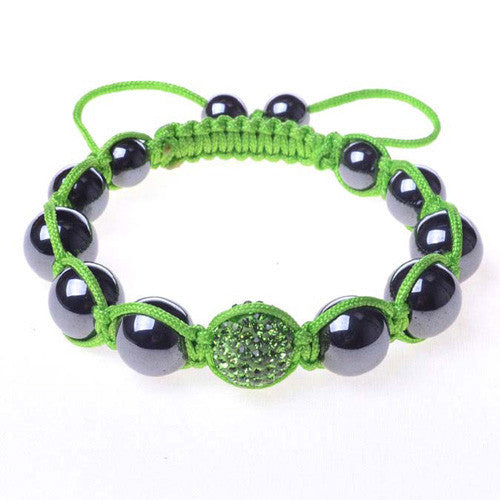 Black Chrome Metallic Green CZ Adjustable Macrame Bracelet