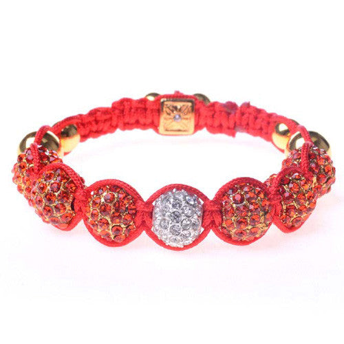 Red and White CZ Yellow Gold Tone Adjustable Macrame Bracelet