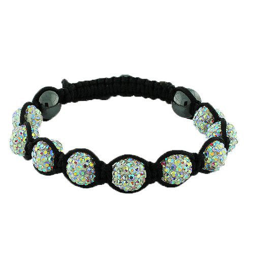 White Multicolor CZ Black Cord Adjustable Macrame Bracelet