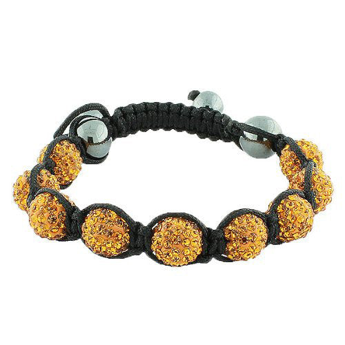 Cognac Brown CZ Black Cord Adjustable Macrame Bracelet