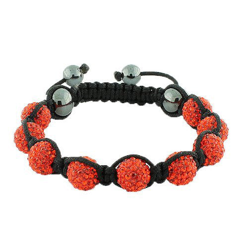Bright Red CZ Black Cord Adjustable Macrame Bracelet