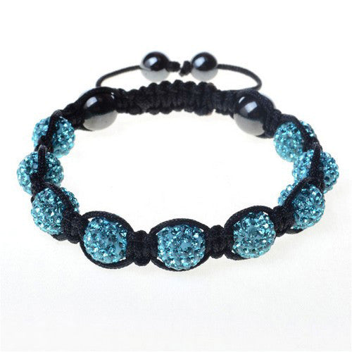 Light Sky Blue CZ Black Cord Adjustable Macrame Bracelet