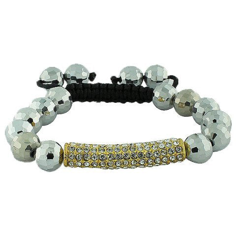 White CZ Gold-Tone Chrome Beaded Adjustable Macrame Bracelet
