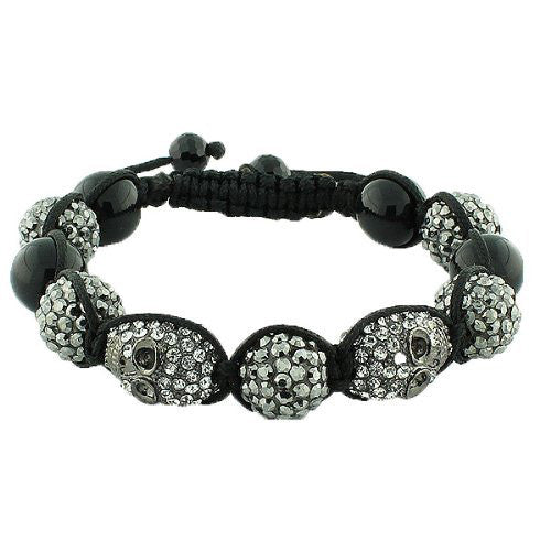 White Chrome CZ Skull Beaded Black Adjustable Macrame Bracelet